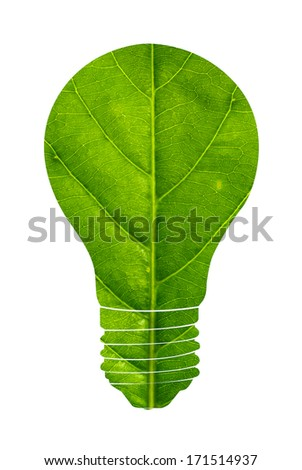 Green eco energy concept light bulb isolated on white background. - stock photo