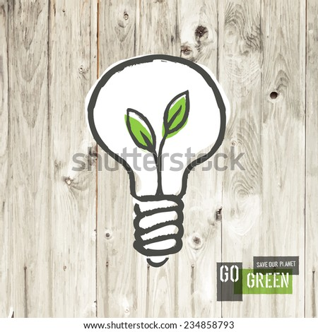 Green eco energy concept, plant growing inside the light bulb, on wooden texture. Raster version - stock photo