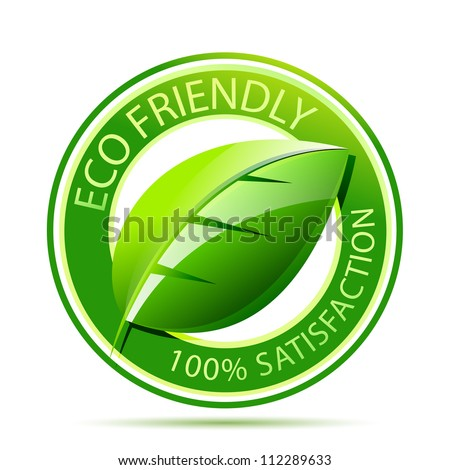 Green eco friendly icon with leaf - stock photo