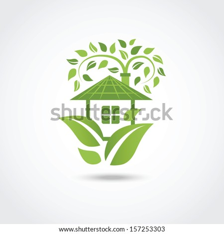 Green eco house - stock photo
