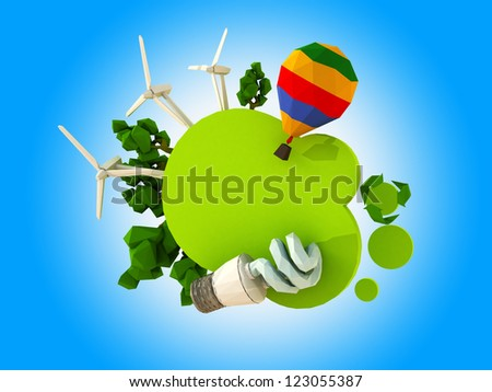 Green eco tablet. Rendering image. Place your text on the green label., - stock photo