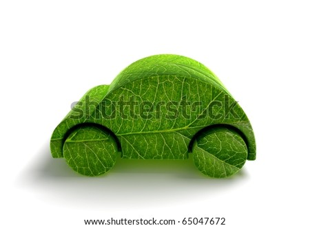 Green ecology car 3D render - stock photo