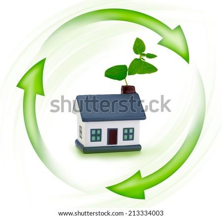 Green ecology house surrounded Illustrated leaf, renewable energy - stock photo