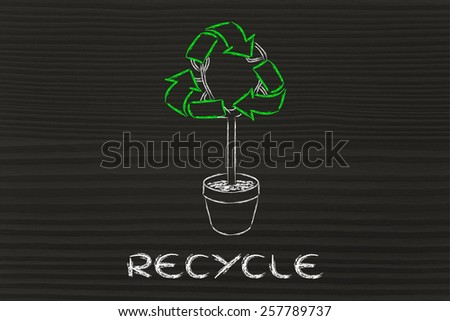 green economy and recycling: tree with recycle symbol - stock photo