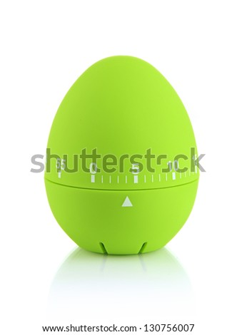 Green egg timer, isolated on white - stock photo