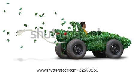green electric car - stock photo