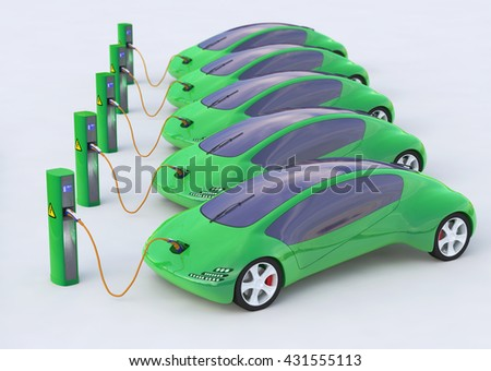 Green Electric Cars, Electric Vehicles Charging Station, Eco car, Electric transport, Future car 3d concept, Electric car 3d render, Electric car transport, Electric car concept. - stock photo