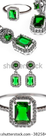 green emerald jewelry, ring and earrings isolated on white - stock photo