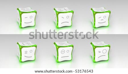 green emotional 3d cubes set - stock photo