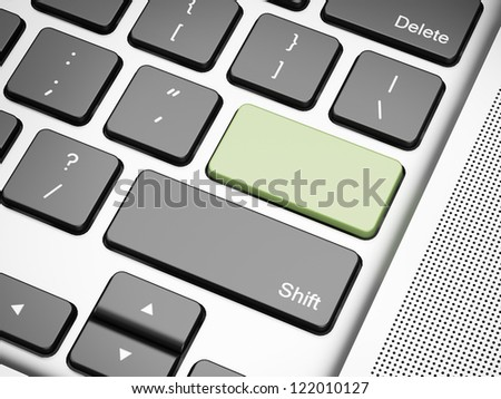 Green empty keyboard button. 3d render of laptop - stock photo