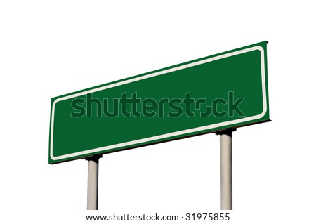 Green Empty Road Name Sign, Isolated, Large Detailed Roadside Signage, Blank Copy Space Background - stock photo