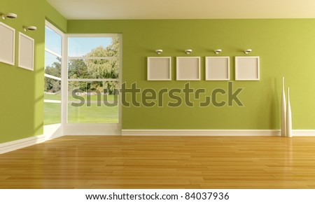 Green empty room - stock photo
