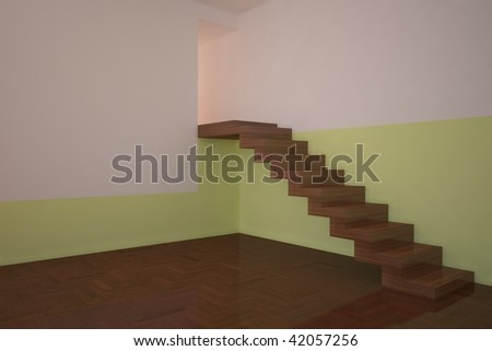 green empty room with stair - stock photo