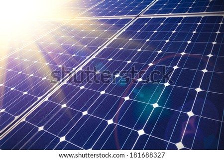 Green energy and sustainable development of solar energy - stock photo