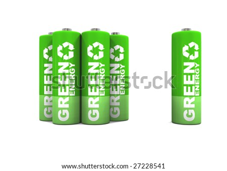 Green energy double A batteries. - stock photo