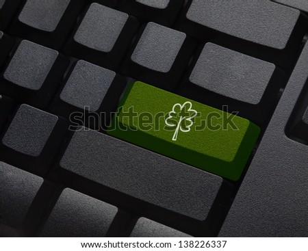 Green energy key with tree icon on keyboard - stock photo
