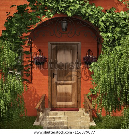 Green entrance to the house with lot of trees and ivy - stock photo