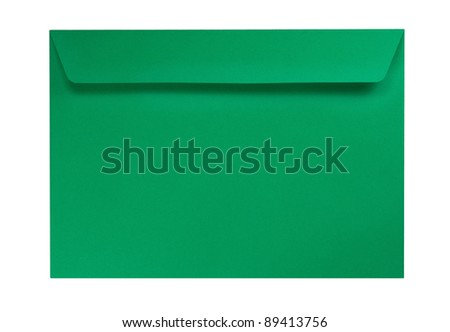 Green envelope isolated on a white background - stock photo