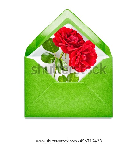 Green envelope with rose flowers. Single object isolated on white background clipping path included. Floral design elements - stock photo