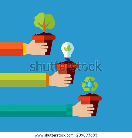 Green environment and renewable energy concept flat design illustration background. - stock photo