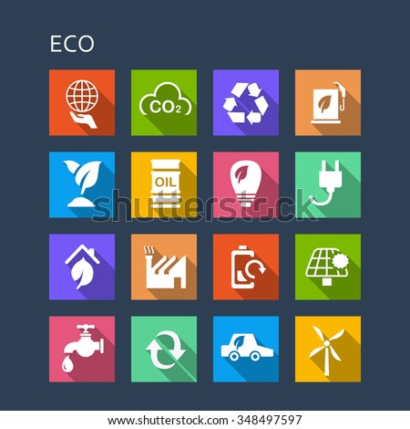 Green environment ECO and recycle concept icon set - Flat Series with long shadows - stock photo