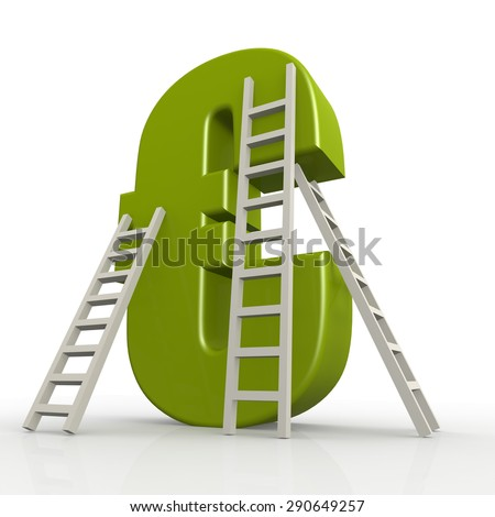 Green euro sign with ladder image with hi-res rendered artwork that could be used for any graphic design. - stock photo