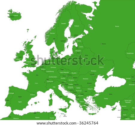 Green Europe map with countries and capital cities - stock photo
