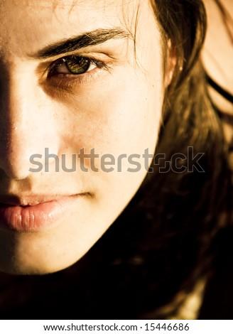 Green eye woman portrait with sensual lips - stock photo