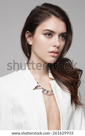 Green Eyes Closeup.Beautiful Fashion Girl with Arrow Make up. Closeup Female eye with Beautiful Fashion bright makeup - stock photo