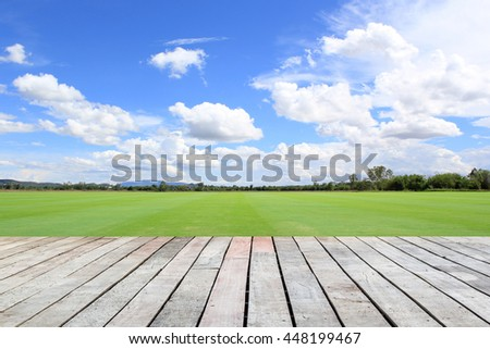 Green field under blue sky. Wood planks floor - stock photo