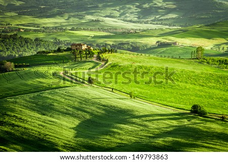 Green fields and meadows in Italy - stock photo