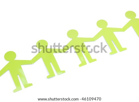 green figures representing people connected, concept for social networking - stock photo