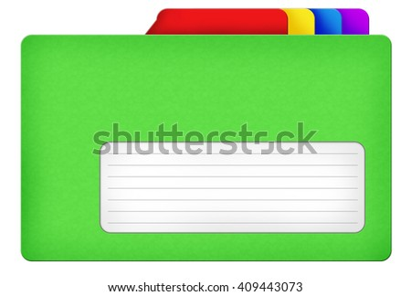 Green file folder illustration with colored bookmarks and blank area isolated over white background - stock photo