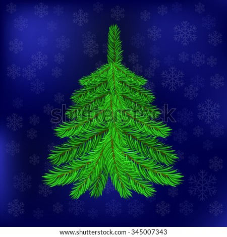 Green Fir on Blue Snowflakes Background. Christmas Blue Night Sky. Symbol of Christmas - stock photo