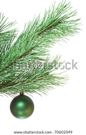 Green fir-twig with christmas ball on white isolated background - stock photo