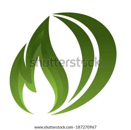 Green fire icon - stock photo