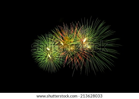 Green fireworks on the black sky background - stock photo