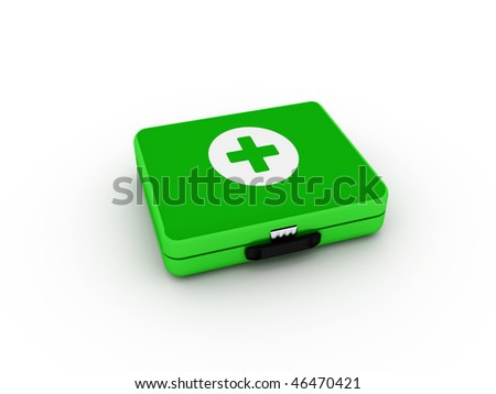 Green first aid kit isolated on white background. High quality 3d render. - stock photo
