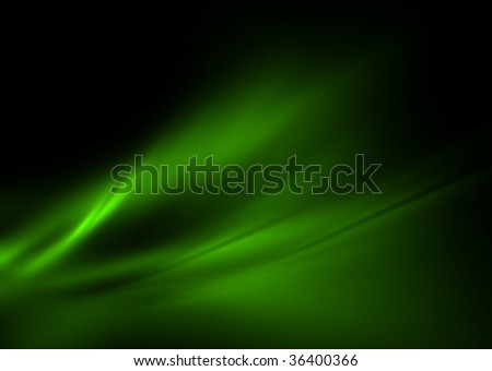 Green flames on black: 3D rendered abstract fractal. - stock photo