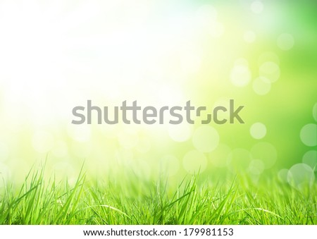 Green floral background with bunch of grass and shimmering spot lights - stock photo