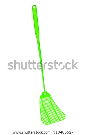 green fly-swat on a white background - stock photo