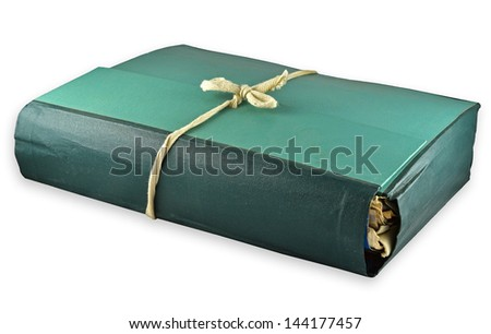 green folder tied with rope isolated on white background - stock photo