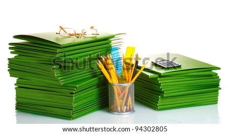 Green folders isolated on white - stock photo
