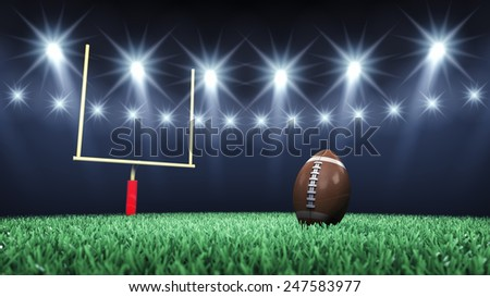 Green football field , ball , goal post and floodlights , Sport arena , American Football stadium - stock photo