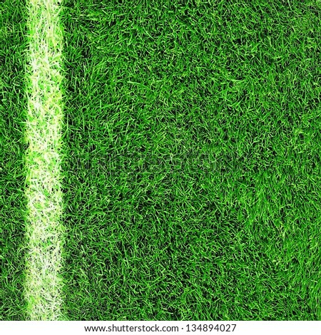 Green football field grass with side line - stock photo