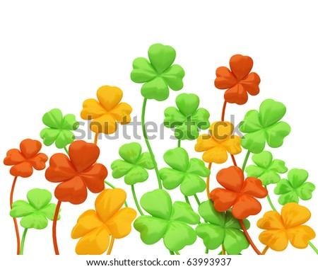 green four-leaved clover with some colored in yellow and red because of autumn - stock photo