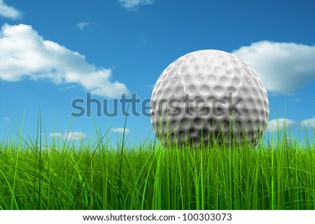 Green, fresh and natural 3d concept or conceptual grass over a blue sky background with a golf ball at horizon ideal for club,sport,business,recreation,competition or fun design - stock photo