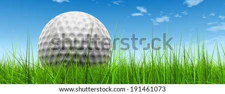 Green, fresh and natural 3d conceptual grass over a blue sky background with a golf ball at horizon ideal for club, sport, business, recreation, summer, competition, competition, game or fun design - stock photo