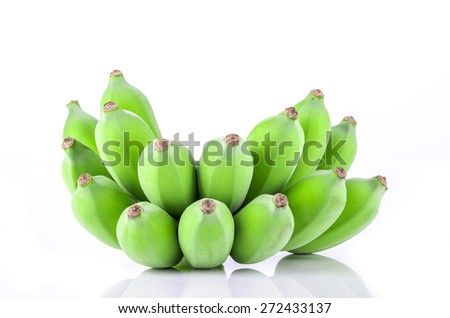 green fresh banana on white with clipping path  - stock photo