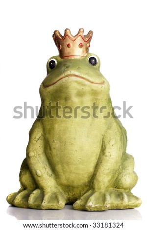 Green frog wearing a golden crown isolated over white. - stock photo